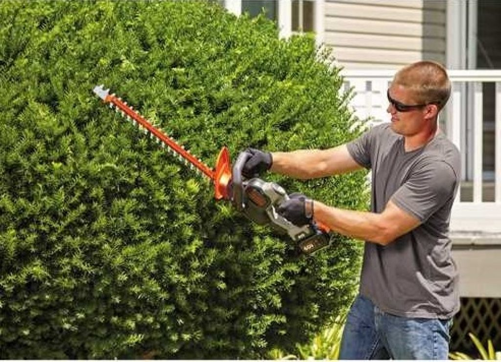 man working with an edge trimmer