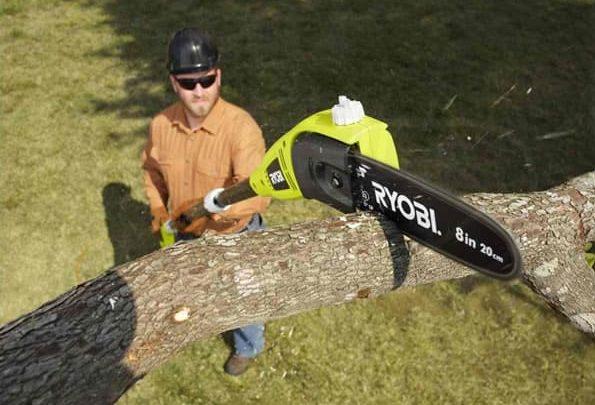 image showing using a ryobi pole saw