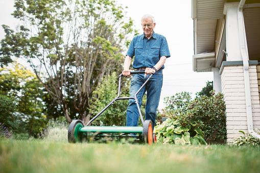 man pushing a hand lawn mower